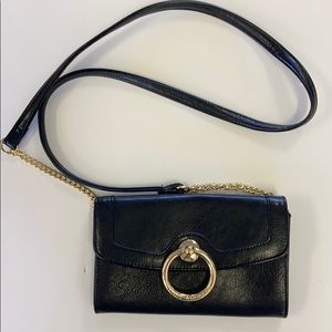 Enzo Angiolini black leather mini purse with gold